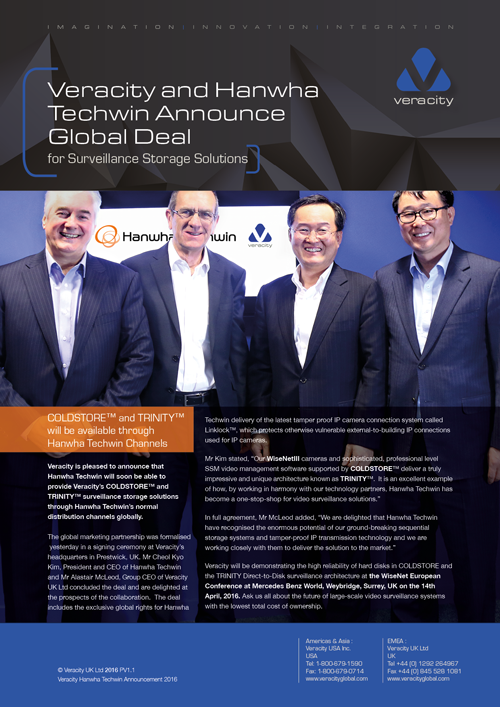 Veracity Hanwha Techwin Announcement 2016
